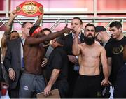 14 March 2019; Tevin Farmer and Jono Carroll, right, square off after weighing in ahead of their IBF World Super Featherweight Title bout at the Liacouras Center in Philadelphia, USA. Photo by Stephen McCarthy/Sportsfile