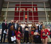14 March 2019; Katie Taylor and Rose Volante square off after weighing in ahead of their IBF, WBA & WBO Female Lightweight World titles unification bout at the Liacouras Center in Philadelphia, USA. Photo by Stephen McCarthy/Sportsfile