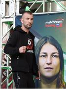 14 March 2019; John Joe Nevin walks past a poster of Katie Taylor as he makes his way to weighing in ahead of his lightweight bout agaisnt Andres Figueroa at the Liacouras Center in Philadelphia, USA. Photo by Stephen McCarthy/Sportsfile