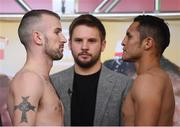 14 March 2019; John Joe Nevin, left, and Andres Figueroa square off after weighing in ahead of their lightweight bout at the Liacouras Center in Philadelphia, USA. Photo by Stephen McCarthy/Sportsfile