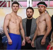 14 March 2019; Luke Campbell, left, and Adrian Yung after weighing in ahead of their lightweight bout at the Liacouras Center in Philadelphia, USA. Photo by Stephen McCarthy/Sportsfile