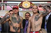 14 March 2019; Gabriel Rosado, left, and Maciej Sulecki square off ahead of their middleweight at the Liacouras Center in Philadelphia, USA. Photo by Stephen McCarthy/Sportsfile