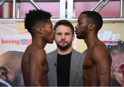 14 March 2019; Raymond Ford, left, and Weusi Johnson weigh in ahead of their featherweight bout at the Liacouras Center in Philadelphia, USA. Photo by Stephen McCarthy/Sportsfile