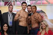 14 March 2019; Daniyar Yeleussinov, left, and Silverio Ortiz square off ahead of their welterweight bout at the Liacouras Center in Philadelphia, USA. Photo by Stephen McCarthy/Sportsfile