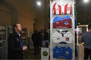 14 March 2019; Mike Derham, vice chairman of Cork City football club, studies the the jerseys on display during the National Football Exhibition Launch at St. Peter's in Cork. Photo by Eóin Noonan/Sportsfile
