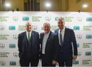 14 March 2019; John Delaney, FAI Chief Executive Officer, right, with former FAI President Tony Fitzgerald, left, and former Republic of Ireland international Ray Houghton during the National Football Exhibition Launch at St. Peter's in Cork. Photo by Eóin Noonan/Sportsfile