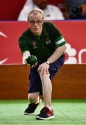 15 March 2019; Team Ireland's Matthew Brennan, a member of the Team South Galway Club, from Ardrahan, Co. Galway, in action during the SO Ireland 10-7 win over SO China Bocce match on Day One of the 2019 Special Olympics World Games in the Abu Dhabi National Exhibition Centre, Abu Dhabi, United Arab Emirates. Photo by Ray McManus/Sportsfile
