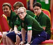15 March 2019; Team Ireland's Matthew Brennan, a member of the Team South Galway Club, from Ardrahan, Co. Galway, and his team-mates watch the action during the SO Ireland 10-7 win over SO China Bocce match on Day One of the 2019 Special Olympics World Games in the Abu Dhabi National Exhibition Centre, Abu Dhabi, United Arab Emirates. Photo by Ray McManus/Sportsfile