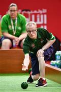 15 March 2019; Team Ireland's Matthew Brennan, a member of the Team South Galway Club, from Ardrahan, Co. Galway,under the watchful eyes of Bocce Head Coach Catherine Kelly, in action during the SO Ireland 10-7 win over SO China Bocce match on Day One of the 2019 Special Olympics World Games in the Abu Dhabi National Exhibition Centre, Abu Dhabi, United Arab Emirates. Photo by Ray McManus/Sportsfile