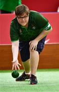 15 March 2019; Team Ireland's Richard Currie, a member of Eagles SOC, from Dungannon, Co. Tyrone, in action during the SO Ireland 10-7 win over SO China Bocce match on Day One of the 2019 Special Olympics World Games in the Abu Dhabi National Exhibition Centre, Abu Dhabi, United Arab Emirates. Photo by Ray McManus/Sportsfile