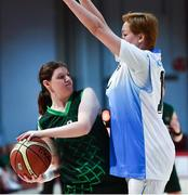 15 March 2019; Team Ireland's Amy Watters, a member of the Wizards SOC, from Bangor, Co. Down, in action against the Kazakhstan captain Alfya Sitdikova during the SO Ireland 20-6 win over Kazakhstan basketball game on Day One of the 2019 Special Olympics World Games in the Abu Dhabi National Exhibition Centre, Abu Dhabi, United Arab Emirates. Photo by Ray McManus/Sportsfile