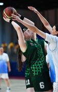 15 March 2019; Team Ireland's Sarah Kilmartin, a member of Athlone SOC, from Athlone, Co. Westmeath, in action against Nina Khissamutdinova of Kazakhstan during the SO Ireland 20-6 win over Kazakhstan basketball game on Day One of the 2019 Special Olympics World Games in the Abu Dhabi National Exhibition Centre, Abu Dhabi, United Arab Emirates. Photo by Ray McManus/Sportsfile
