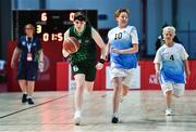 15 March 2019; Team Ireland's Sarah Kilmartin, a member of Athlone SOC, from Athlone, Co. Westmeath, in action against the Kazakhstan captain Alfya Sitdikova and Marina Krasnoperova, right, during the SO Ireland 20-6 win over Kazakhstan basketball game on Day One of the 2019 Special Olympics World Games in the Abu Dhabi National Exhibition Centre, Abu Dhabi, United Arab Emirates. Photo by Ray McManus/Sportsfile
