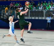 15 March 2019; Team Ireland's Emma Johnstone, a member of the Cabra Lions Special Olympics Club, from Dublin 11, Co. Dublin, in action against the Kazakhstan's Marina Krasnoperova during the SO Ireland 20-6 win over Kazakhstan basketball game on Day One of the 2019 Special Olympics World Games in the Abu Dhabi National Exhibition Centre, Abu Dhabi, United Arab Emirates. Photo by Ray McManus/Sportsfile