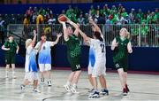 15 March 2019; Team Ireland's Grace Hamilton, 14, a member of the Antrim Borough SOC, from Antrim Town, Co. Antrim, in action during the SO Ireland 20-6 win over Kazakhstan basketball game on Day One of the 2019 Special Olympics World Games in the Abu Dhabi National Exhibition Centre, Abu Dhabi, United Arab Emirates. Photo by Ray McManus/Sportsfile