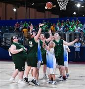 15 March 2019; Team Ireland's Emma Johnstone, 9, a member of the Cabra Lions Special Olympics Club, from Dublin 11, Co. Dublin, in action during the SO Ireland 20-6 win over Kazakhstan basketball game on Day One of the 2019 Special Olympics World Games in the Abu Dhabi National Exhibition Centre, Abu Dhabi, United Arab Emirates. Photo by Ray McManus/Sportsfile