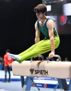 15 March 2019; Team Ireland's John Keenan, a member of the St.Hilda's Special School, from Ballymore, Co. Westmeath, competing on the pommel horse during the Artistic Gymnastic events on Day One of the 2019 Special Olympics World Games in the Abu Dhabi National Exhibition Centre, Abu Dhabi, United Arab Emirates. Photo by Ray McManus/Sportsfile