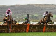 15 March 2019; Pentland Hills, right, with Nico de Boinville up, jumps the last, alongside eventual second place Coeur Sublime, with Davy Russell up, on their way to winning the JCB Triumph Hurdle on Day Four of the Cheltenham Racing Festival at Prestbury Park in Cheltenham, England. Photo by Seb Daly/Sportsfile