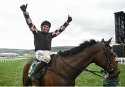 15 March 2019; Harry Skelton celebrates on Ch'tibello after winning the Randox Health County Handicap Hurdle on Day Four of the Cheltenham Racing Festival at Prestbury Park in Cheltenham, England. Photo by David Fitzgerald/Sportsfile