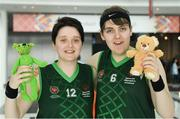 15 March 2019;Team Ireland's Shauna Stewart, left, a member of Athlone SOC, from Athlone, Co. Westmeath, and Sarah Kilmartin, a member of Athlone SOC, from Athlone, Co. Westmeath, with their mascots Berry and Archie after their Basketball game on Day One of the 2019 Special Olympics World Games in the Abu Dhabi National Exhibition Centre, Abu Dhabi, United Arab Emirates. Photo by Ray McManus/Sportsfile