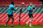 15 March 2019; Garry Ringrose, right, and Bundee Aki during the Ireland rugby captain's run at the Principality Stadium in Cardiff, Wales. Photo by Brendan Moran/Sportsfile