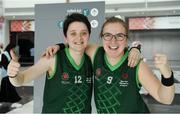 15 March 2019; Team Ireland's Shauna Stewart, left, a member of Athlone SOC, from Athlone, Co. Westmeath, and Team Ireland's Emma Johnstone, a member of the Cabra Lions Special Olympics Club, from Dublin 11, Co. Dublin, after their Basketball game on Day One of the 2019 Special Olympics World Games in the Abu Dhabi National Exhibition Centre, Abu Dhabi, United Arab Emirates. Photo by Ray McManus/Sportsfile
