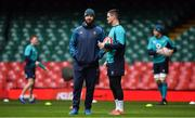 15 March 2019; Jonathan Sexton, right, with defence coach Andy Farrell during the Ireland rugby captain's run at the Principality Stadium in Cardiff, Wales. Photo by Brendan Moran/Sportsfile