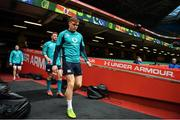 15 March 2019; Garry Ringrose arrives for the Ireland rugby captain's run at the Principality Stadium in Cardiff, Wales. Photo by Brendan Moran/Sportsfile