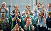 15 March 2019; Team Ireland supporters cheer on the Bocce players during the SO Ireland 10-7 win over SO China Bocce match on Day One of the 2019 Special Olympics World Games in the Abu Dhabi National Exhibition Centre, Abu Dhabi, United Arab Emirates. Photo by Ray McManus/Sportsfile