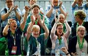 15 March 2019; Lucy Maddigan, Families and Supporters Coordinator with Special Olympics Ireland, bottom left, with supporters of Bocce star Matthew Brennan Mary Hogan, Martina Brennan and Caroline Brennan during the SO Ireland 10-7 win over SO China Bocce match on Day One of the 2019 Special Olympics World Games in the Abu Dhabi National Exhibition Centre, Abu Dhabi, United Arab Emirates. Photo by Ray McManus/Sportsfile