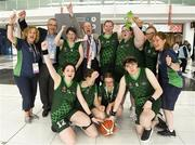 15 March 2019; Members of Team Ireland's Basketball Team together with their coaches Evelyn Bohan, left, Dorothy Kavanagh, right, Adrian Cronin, Ireland Ambassador to The United Arab Emirates, and to Afghanistan, Kuwait and Qatar, and the Minister for Tourism, Transport and Sport Shane Ross, T.D., after their game on Day One of the 2019 Special Olympics World Games in the Abu Dhabi National Exhibition Centre, Abu Dhabi, United Arab Emirates. Photo by Ray McManus/Sportsfile