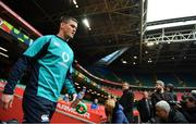 15 March 2019; Jonathan Sexton arrives for the Ireland rugby captain's run at the Principality Stadium in Cardiff, Wales. Photo by Brendan Moran/Sportsfile