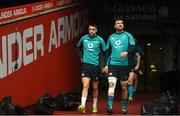 15 March 2019; Conor Murray, left, and Tadhg Beirne during the Ireland rugby captain's run at the Principality Stadium in Cardiff, Wales. Photo by Ramsey Cardy/Sportsfile