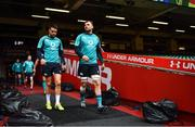 15 March 2019; Conor Murray, left, and Tadhg Beirne arrive for the Ireland rugby captain's run at the Principality Stadium in Cardiff, Wales. Photo by Brendan Moran/Sportsfile