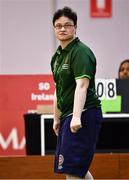 15 March 2019; Team Ireland's Ciara Joyce, a member of the Leixlip Special Olympics Club, from Leixllip, Co. Kildare, watches her shot during the SO Ireland 10-7 win over SO China Bocce match on Day One of the 2019 Special Olympics World Games in the Abu Dhabi National Exhibition Centre, Abu Dhabi, United Arab Emirates. Photo by Ray McManus/Sportsfile