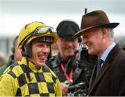 15 March 2019; Jockey Paul Townend, left, and trainer Willie Mullins after sending out Al Boum Photo to win the Magners Cheltenham Gold Cup Chase on Day Four of the Cheltenham Racing Festival at Prestbury Park in Cheltenham, England. Photo by Seb Daly/Sportsfile