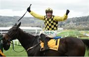 15 March 2019; Paul Townend celebrates on Al Boum Photo after winning the Magners Cheltenham Gold Cup Chase on Day Four of the Cheltenham Racing Festival at Prestbury Park in Cheltenham, England. Photo by David Fitzgerald/Sportsfile