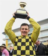 15 March 2019; Paul Townend celebrates with the Gold Cup after riding Al Boum Photo to win the Magners Cheltenham Gold Cup Chase on Day Four of the Cheltenham Racing Festival at Prestbury Park in Cheltenham, England. Photo by David Fitzgerald/Sportsfile