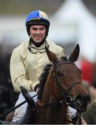 15 March 2019; Alex Edwards celebrates on Hazel Hill after winning the St. James's Place Foxhunter Challenge Cup Open Hunters' Chase on Day Four of the Cheltenham Racing Festival at Prestbury Park in Cheltenham, England. Photo by David Fitzgerald/Sportsfile