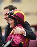 15 March 2019; Jockey Rachael Blackmore celebrates with trainer Henry de Bromhead after winning the Albert Bartlett Novices' Hurdle on Minella Indo on Day Four of the Cheltenham Racing Festival at Prestbury Park in Cheltenham, England. Photo by Seb Daly/Sportsfile