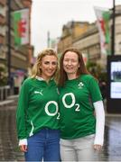 15 March 2019; Ireland supporters Edwina Deering, left, and Caroline Sexton, from Nurney, Co. Kildare, in Cardiff ahead of Ireland's Guinness Six Nations game against Wales at the Principality Stadium in Cardiff, Wales. Photo by Ramsey Cardy/Sportsfile