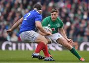 10 March 2019; Jordan Larmour of Ireland in action against Guilhem Guirado of France during the Guinness Six Nations Rugby Championship match between Ireland and France at the Aviva Stadium in Dublin. Photo by Brendan Moran/Sportsfile