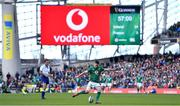 10 March 2019; Jonathan Sexton of Ireland kicks a penalty during the Guinness Six Nations Rugby Championship match between Ireland and France at the Aviva Stadium in Dublin. Photo by Brendan Moran/Sportsfile