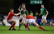 15 March 2019; John Hodnett of Ireland, supported by team-mate Liam Turner, in action against Jac Morgan, left, and Ellis Thomas of Wales during the U20 Six Nations Rugby Championship match between Wales and Ireland at Zip World Stadium in Colwyn Bay, Wales. Photo by Piaras Ó Mídheach/Sportsfile