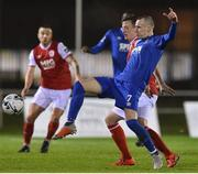 15 March 2019; Karolis Chvedukas of Waterford FC in action against Chris Forrester of St Patrick's Athletic during the SSE Airtricity League Premier Division match between Waterford and St Patrick's Athletic at the RSC in Waterford. Photo by Matt Browne/Sportsfile