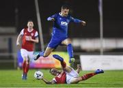 15 March 2019; Zack Elbouzedi of Waterford FC in action against Kevin Toner of St Patrick's Athletic during the SSE Airtricity League Premier Division match between Waterford and St Patrick's Athletic at the RSC in Waterford. Photo by Matt Browne/Sportsfile