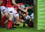 15 March 2019; Scott Penny of Ireland is held up before the line, before referee Christophe Ridley ruled no try was scored, in the first half, during the U20 Six Nations Rugby Championship match between Wales and Ireland at Zip World Stadium in Colwyn Bay, Wales. Photo by Piaras Ó Mídheach/Sportsfile