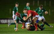 15 March 2019; John Hodnett of Ireland, suppoted by team-mate Liam Turner, right, in action against Will Griffiths, left, and Sam Costelow of Wales during the U20 Six Nations Rugby Championship match between Wales and Ireland at Zip World Stadium in Colwyn Bay, Wales. Photo by Piaras Ó Mídheach/Sportsfile