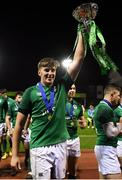 15 March 2019; Captain Charlie Ryan of Ireland lifts the cup after winning the U20 Six Nations Rugby Championship match between Wales and Ireland at Zip World Stadium in Colwyn Bay, Wales. Photo by Piaras Ó Mídheach/Sportsfile