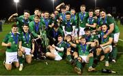 15 March 2019; Ireland players celebrate with the cup after winning the U20 Six Nations Rugby Championship match between Wales and Ireland at Zip World Stadium in Colwyn Bay, Wales. Photo by Piaras Ó Mídheach/Sportsfile
